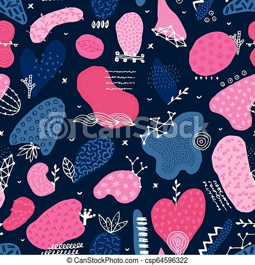 Vector seamless pattern with hand drawn abstract shapes. Spotted and textured figures. Unique design - csp64596322