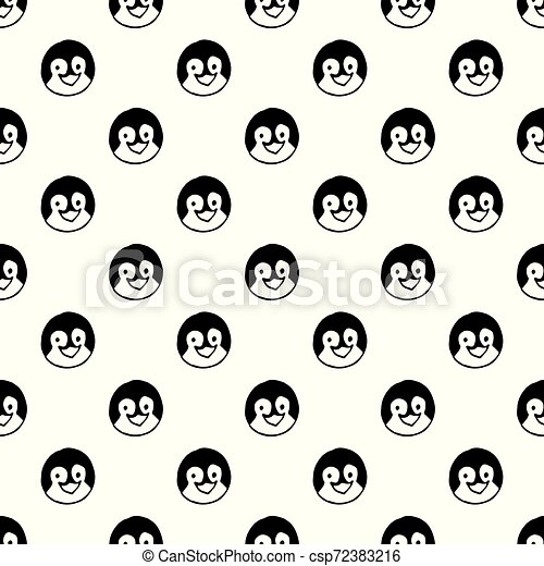 Vector seamless pattern with hand drawn penguin head. - csp72383216