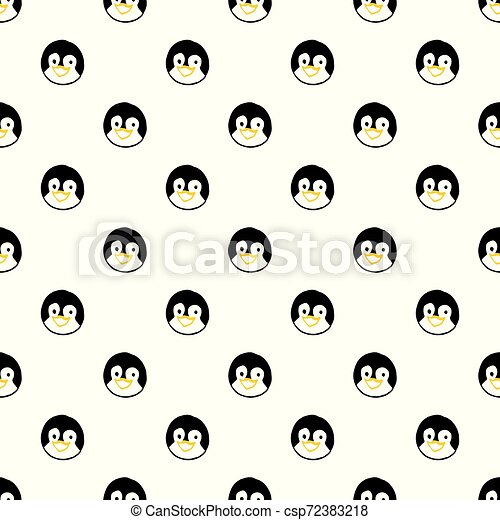 Vector seamless pattern with hand drawn penguin head. - csp72383218