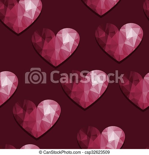 Vector Seamless Pattern with Hearts - csp32623509
