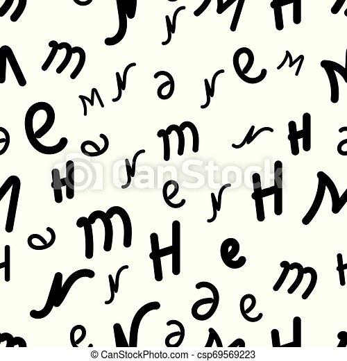 Vector seamless pattern with letters of the alphabet in random order on a white background. Suitable for web backgrounds, textiles and wrapping paper. - csp69569223