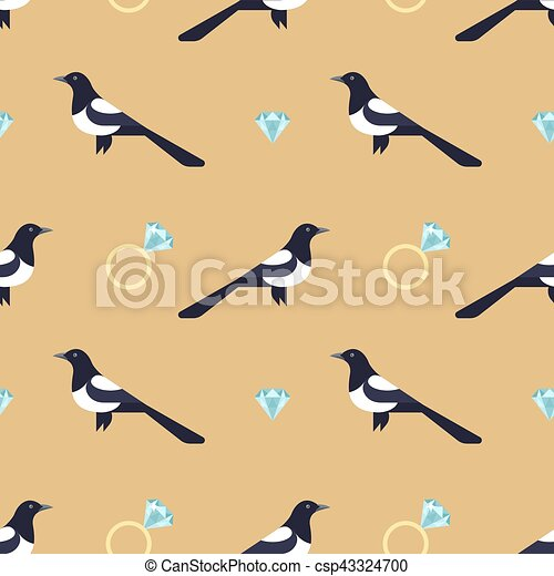 Vector seamless pattern with luxury golden rings and magpies. - csp43324700