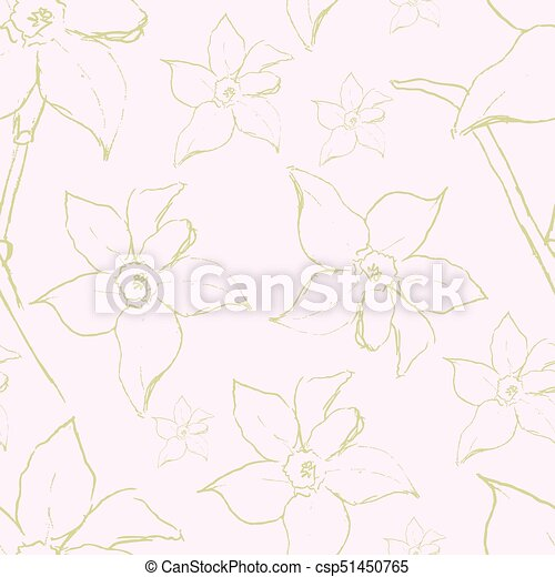 Vector seamless pattern with narcissus daffodil - csp51450765