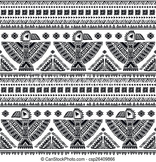 Tribal Vector Seamless Pattern With Native American Indian Clip
