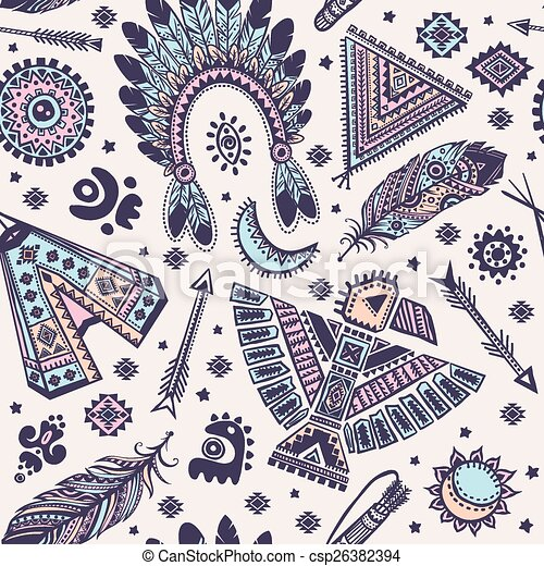 Tribal Vector Seamless Pattern With Native American Indian Eps