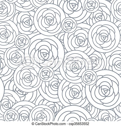 Vector Seamless Pattern With Outline Decorative Roses Beautiful Floral Background Stylish Abstract Flowers