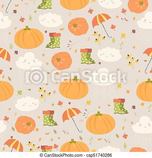 Vector seamless pattern with pumpkins - csp51740286
