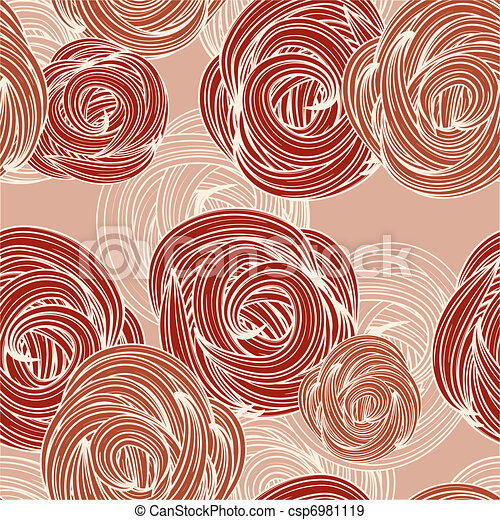 vector seamless pattern with roses - csp6981119