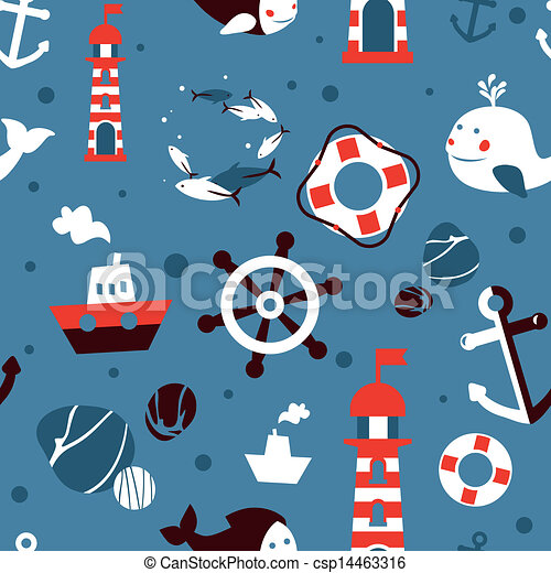 Vector seamless pattern with sea icons - csp14463316