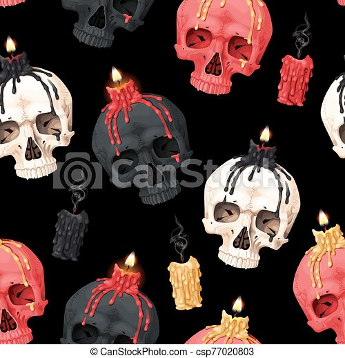 Vector seamless pattern with skull and candle - csp77020803
