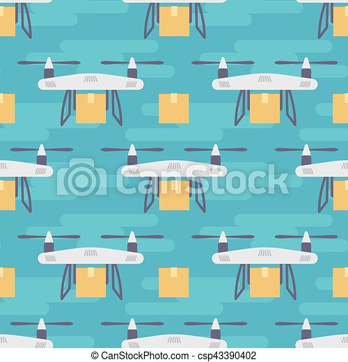 Vector seamless pattern with quadrocopters or drones carrying parcels. - csp43390402