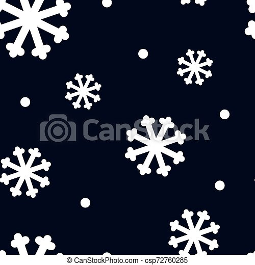 Vector seamless pattern with white snowflakes on dark blue background. - csp72760285