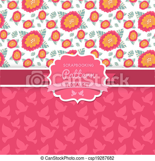 Shabby Chic Floral Patterns Seamlessly Tiling Can Be Used For