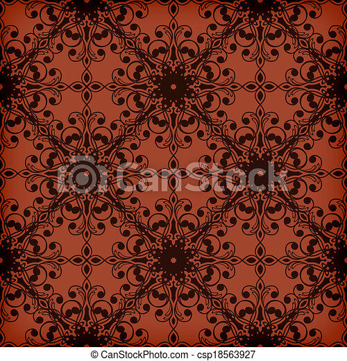 Vector Seamless Red Floral Pattern - csp18563927