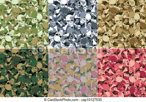 Vector. Seamless skull camouflage pattern - csp10127530