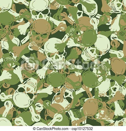 Vector. Seamless skull camouflage pattern - csp10127532