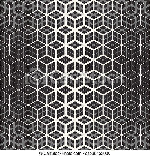 vector seamless star cube geometric grid halftone line pattern
