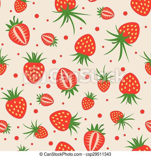 Vector Seamless Strawberry Pattern New Strawberry Pattern