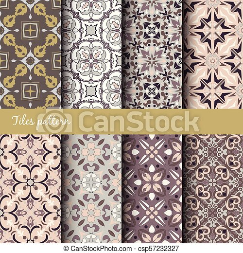 Vector Seamless Texture Collection Set Of Beautiful Colored Patterns For Design And Fashion With Decorative Elements