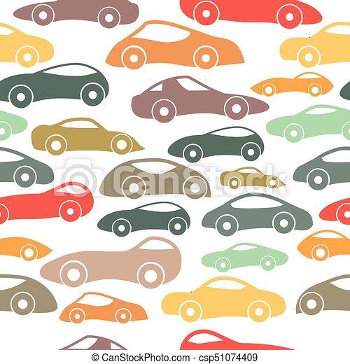 Vector Seamless Vintage Racing Cars Pattern - csp51074409