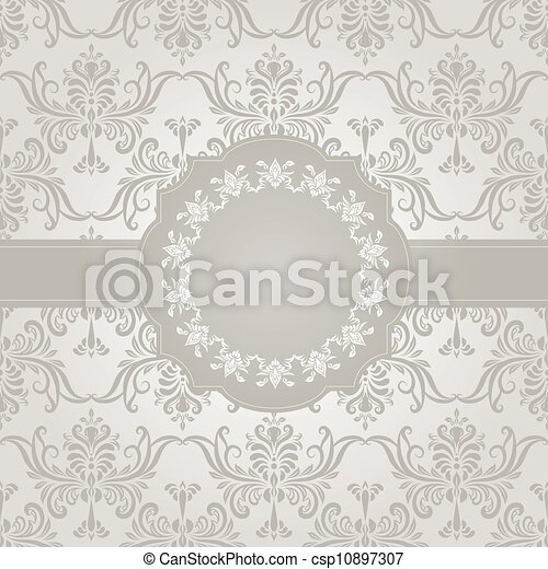 vector seamless vintage wallpaper pattern on gradient background and frame for your text, fully editable eps 8 file with clipping mask and pattern in swatch menu - csp10897307