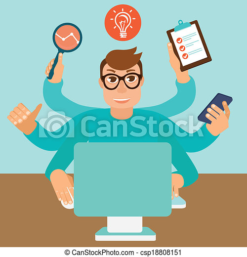Vector self employment concept in flat style - csp18808151