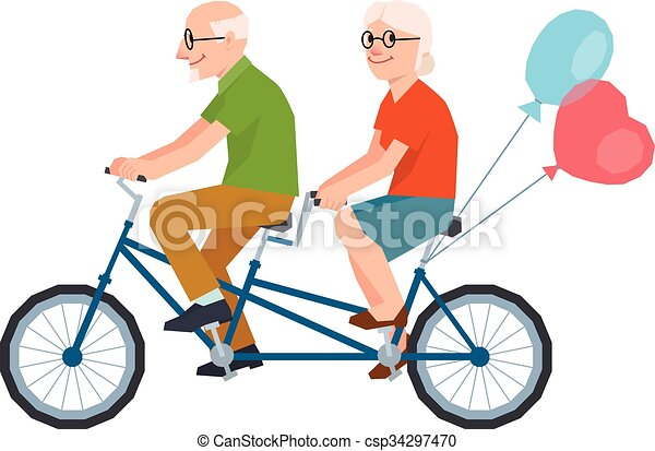 Vector senior married a loving couple riding a tandem bike.eps - csp34297470