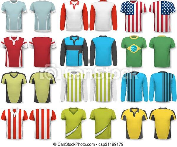 Colección de varias camisas. Diseño de plantilla. La camiseta es transparente y puede ser usada como plantilla con tu propio diseño. Vector - csp31199179