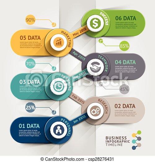La plantilla de información de la línea de negocios. Ilustración de vectores. Se puede usar para diseño de flujo de trabajo, pancarta, diagrama, opciones de número, diseño web. - csp28276431