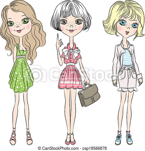 Vector set beautiful cute fashion girl . Set cute ...