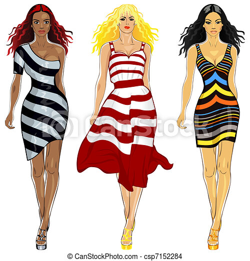 vector set beautiful girls in a striped dresses - csp7152284