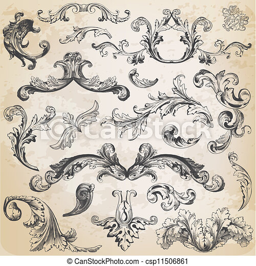 Vector Set: Calligraphic Design Elements and Page Decoration, Vintage Frame collection with Flowers - csp11506861