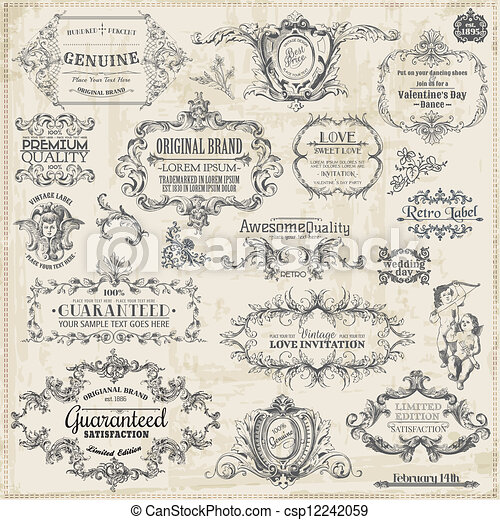 Vector Set: Calligraphic Design Elements and Page Decoration, Vintage Frame collection - csp12242059