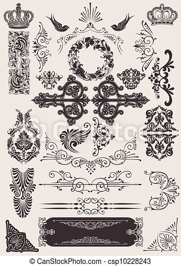 vector set: calligraphic design elements and page decoration - csp10228243