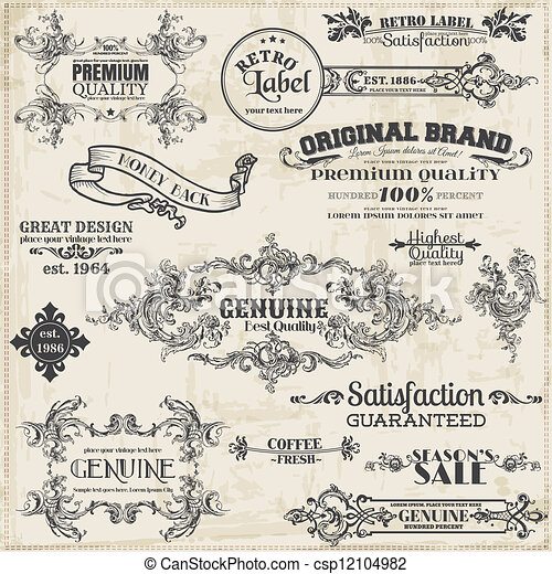 Vector Set: Calligraphic Design Elements and Page Decoration, Vintage Frame collection - csp12104982