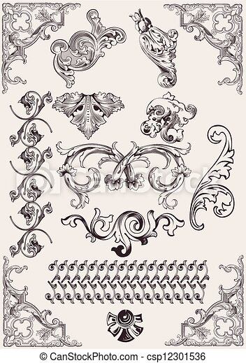 vector set: calligraphic design elements and page decoration - csp12301536