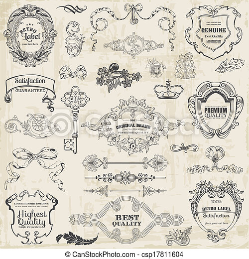 Vector Set: Calligraphic Design Elements and Page Decoration, Vintage Frame collection - csp17811604