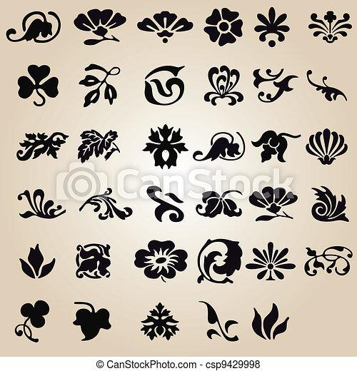 vector set: calligraphic flower design - csp9429998