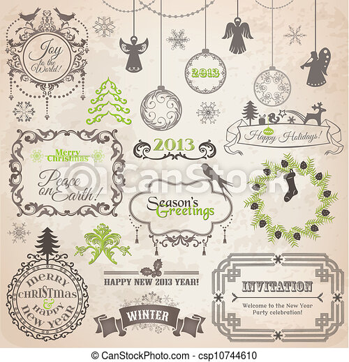 Vector Set: Christmas Calligraphic Design Elements and Page Decoration, Vintage Frames - csp10744610