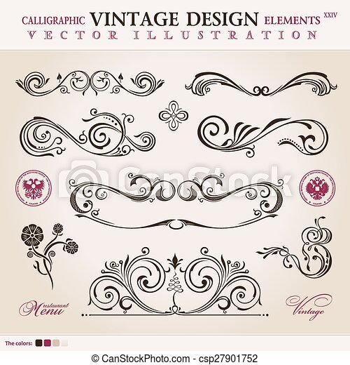Vector set classic. Calligraphic design elements ornament decor - csp27901752