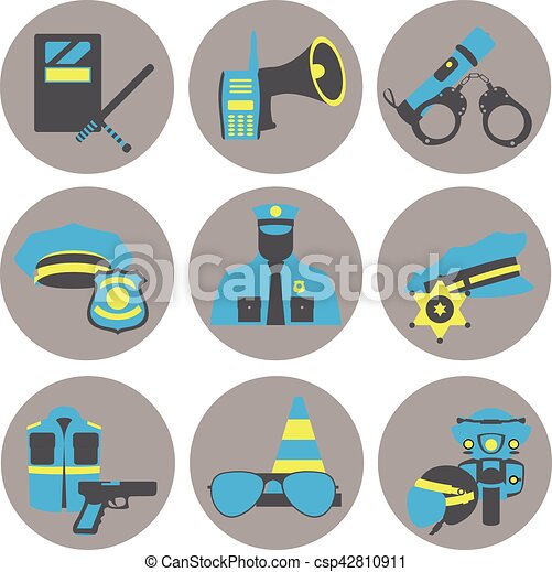 Vector set collection icons of police equipment vector illustration - csp42810911