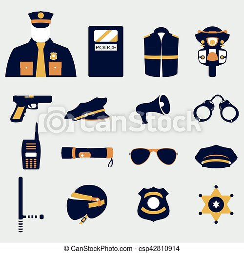 Vector set collection icons of police equipment vector illustration - csp42810914