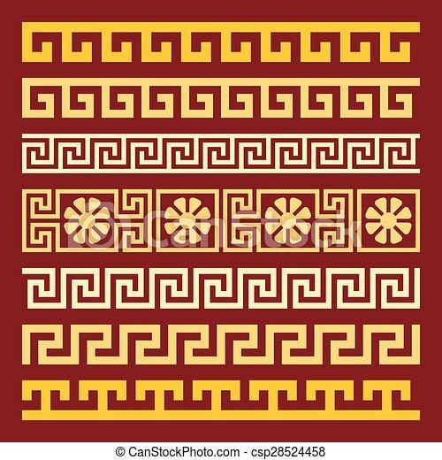 vector set gold Greek ornament Meander - csp28524458