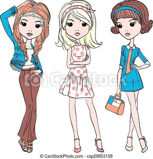 Vector set hipster fashion cute girl - csp29853158