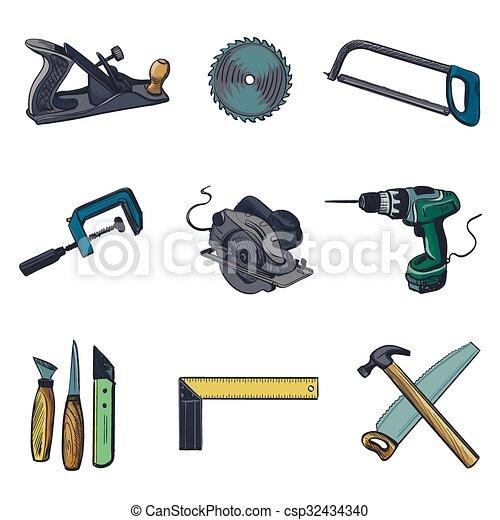 vector, set, iconen, industrie, -, woodworking, gereedschap, pictogram - csp32434340
