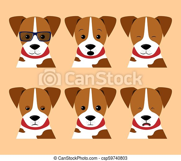 Vector set isolated emotion puppy dog  Collection funny dogs in cartoon  style  Stock Illustrations isolated emoji character stickers with different