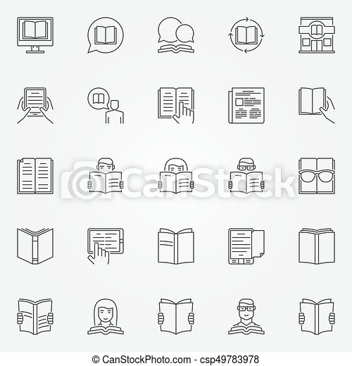 vector, set, lezende , iconen - csp49783978