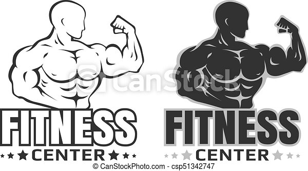 vector set logos for bodybuilding set emblems with bodybuilder on rh canstockphoto com bodybuilding logo maker bodybuilding logos free