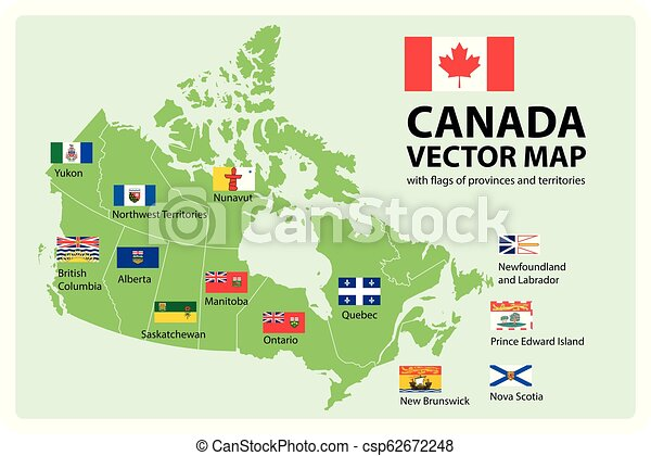 Map Of The Provinces And Territories Of Canada.Vector Set Map Of Canada With Provinces And Territories Flags