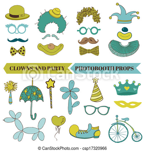 vector, set, mustache, bril, lippen, -, clown, hoedjes, maskers, photobooth, feestje - csp17320966